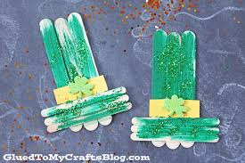 popsicle stick leprechaun hat kid craft glued to my crafts
