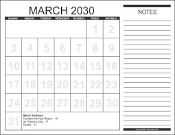 2030 calendar style 1 free printable calendars