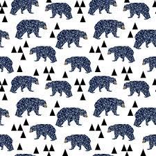 bears fabric geo bear navy blue triangles bear geometric boys