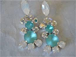Chandelier Earrings Bridal Tiffany Blue Swarovski Crystal Chandelier Earrings The Crystal