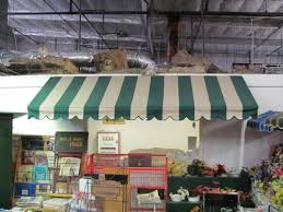 Striped Awning Large Rectangular Green White Striped Awning In Awnings
