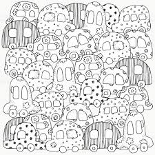 pattern coloring book doodle style kids cars stock vector