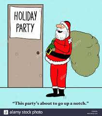 christmas cartoon of a u0027holiday party u0027 santa claus is about to