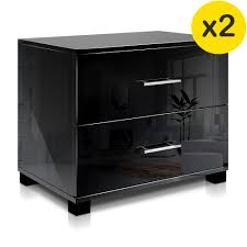 two drawer bedside table two drawer bedside tables glossy black four legs furniture