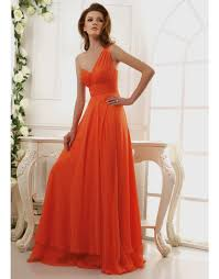 one shoulder top selling orange chiffon floor length prom dresses