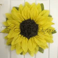 sunflower mesh wreath yellow burlap sunflower wreath the crafty wineaux