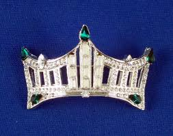 rhinestone crown pin an instant pageant classic green