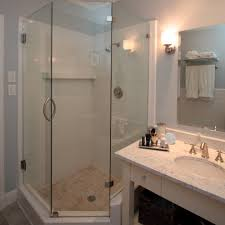 tiny bathroom ideas shower white blue pale white curtain white