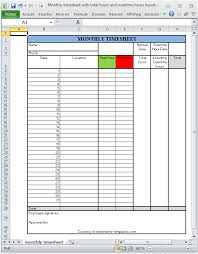 monthly printable excel timesheet with total hours and overtime