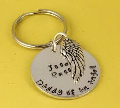 Remembrance Keychain Personalized Daddy Of An Angel Keychain Miscarriage Memorial