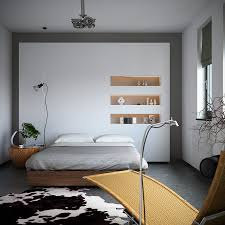 interior organic meets industrial bedroom with monochrome