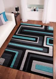 Large Modern Rug Jcs Room Retro Modern Black Teal Blue Grey Large Carved