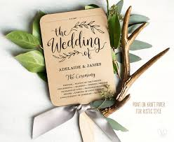 kraft paper wedding programs printable wedding program template rustic wedding fan