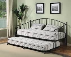 bedroom black metal twin daybed with pop up trundle frame design