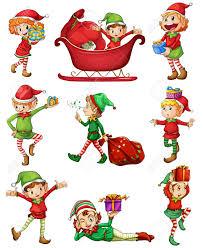 illustration of the playful santa elves on a white background