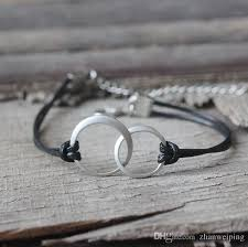 leather bracelet with silver charms images Silver or gold entwined circles leather bracelet double circle jpg