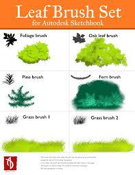 leaf brush set autodesk sketchbook brushes by dweran on deviantart
