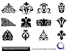decorative silhouette floral ornament set vector
