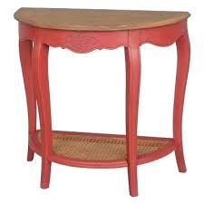 half moon table target red console table natural oak veneer and antique red half moon
