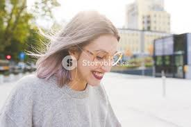 looking with grey hair portrait of young beautiful caucasian purple grey hair woman