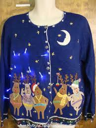 pig and reindeer light up ugly xmas sweater