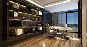 large home office elegant home office interior with a modern desk overlooking large