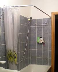 Small Shower Curtain Rod Decorating Gray Daltile Wall With White Shower Curtains And