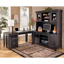 ashley furniture desks home office ashley carlyle l desk credenza tall hutch set the sleek design of