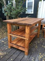 kitchen island recovered wood multiple species butcher block