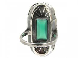 large green chalcedony u0026 marcasite art deco silver ring the