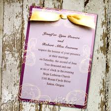 wedding invitations with ribbon plum golden swirls ribbon layered wedding invites iwfc031