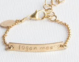 baby gold bracelet with name bracelet duo etsy