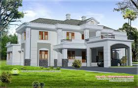 luxury colonial style home design with court yard kerala home