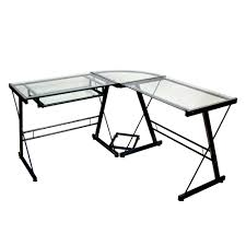 Glass Corner Desks Walker Edison Black Glass Corner Computer Desk Home Furniture
