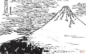 red fuji by hokusai coloring page free printable coloring pages