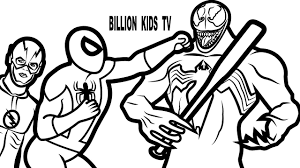 spiderman venom flash coloring book coloring pages kids fun