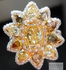color diamonds rings images Yellow diamond cushion cut diamond assorted fancy colored jpg
