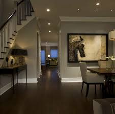 grey wall paint for frames different size as hallway decorating