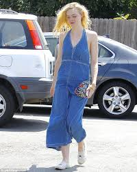 elle fanning keeps cool in a denim dress while out in beverly