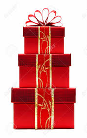 christmas present boxes stacked christmas gift boxes with ribbon and bow isolated
