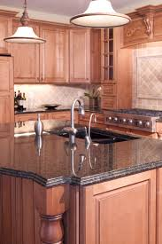 Maple Cabinet Kitchen Ideas by Grey Granite Countertops With Cinnamon Cherry Cabinets Tan Brown