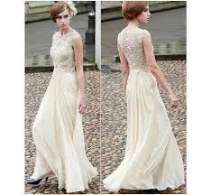 ivory cream champagne lace sequin rhinestone chiffon gown