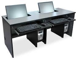 2 Monitor Computer Desk Flat Panel Lcd Widescreen Computer Desks Classroom Computer