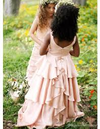 pretty blush pink flower dresses country style kids tutu