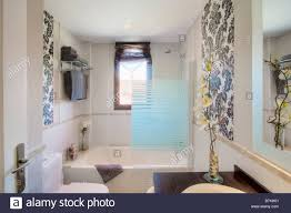 Designer Bathroom Wallpaper by Small Modern Bathroom With Opaque Glass Shower Screen On Bath And