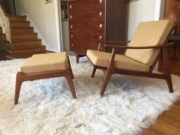 mid century modern swooped arm walnut lounge chair u0026 ottoman in