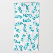 pura vida pineapples in blue towel de la pura vida