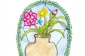 Vase Drawing A Drawing Of A Vase With Flowers On A Table By A Aged 13 From
