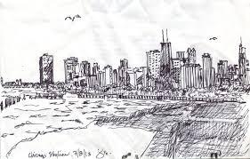 jane sloss watercolor paintings chicago skyline in pen u0026 ink