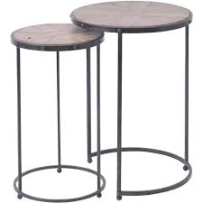 buy two industrial style circular side tables from fusion living
